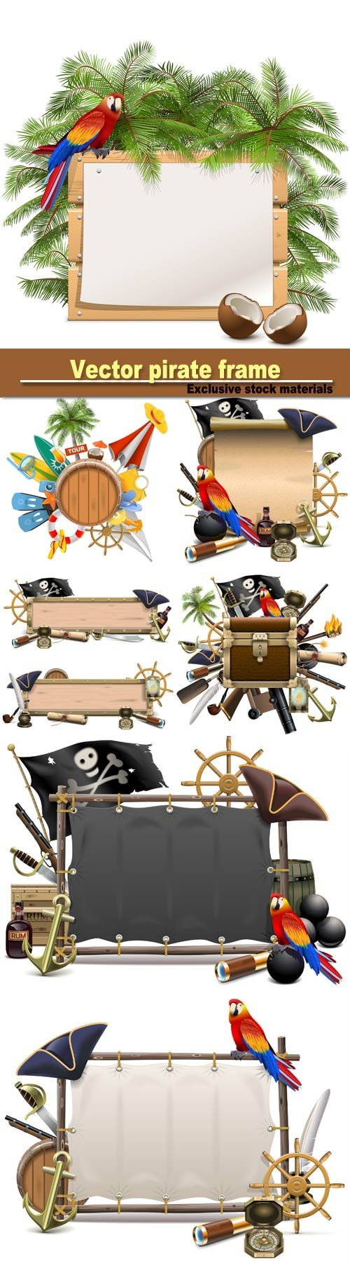 Vector pirate frame, treasure hunt  and beach concept