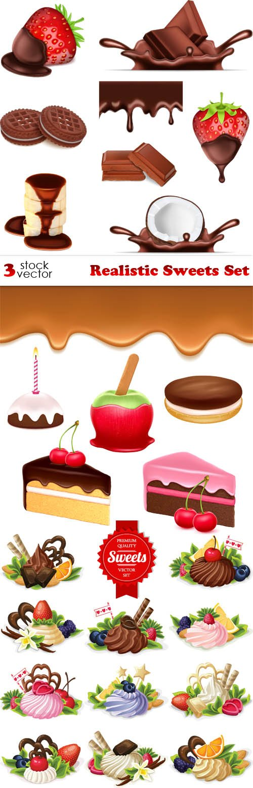 Vectors - Realistic Sweets Set