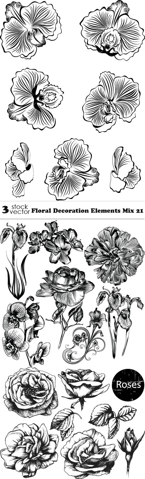 Vectors - Floral Decoration Elements Mix 21