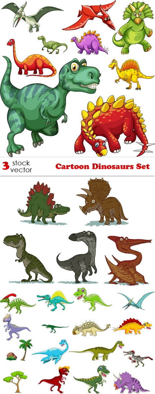 Vectors - Cartoon Dinosaurs Set