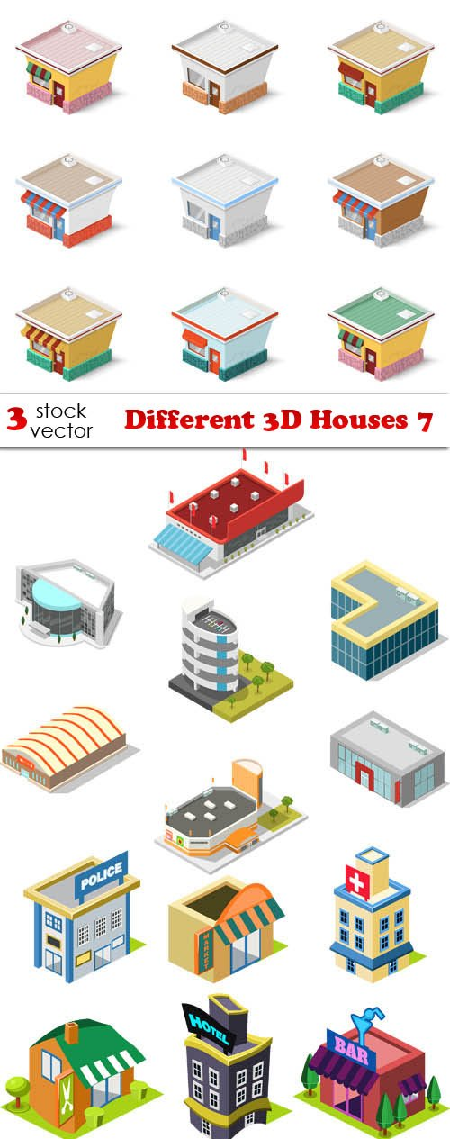 Vectors - Different 3D Houses 7