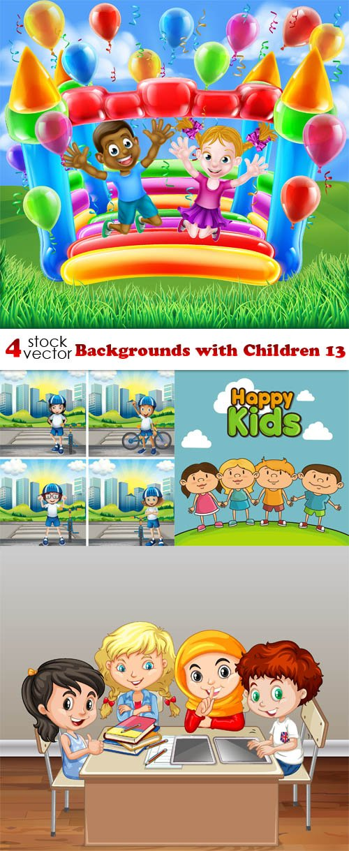 Vectors - Backgrounds with Children 13