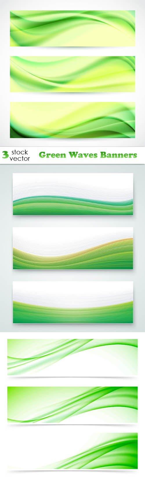 Vectors - Green Waves Banners