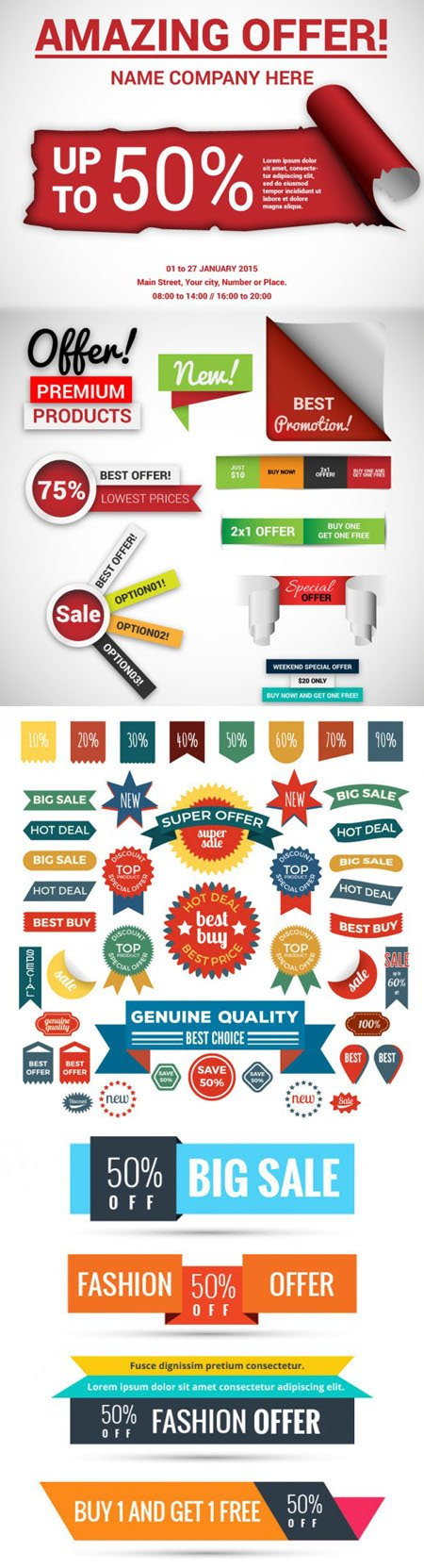 Colorful Sale Stickers & Labels in Vector
