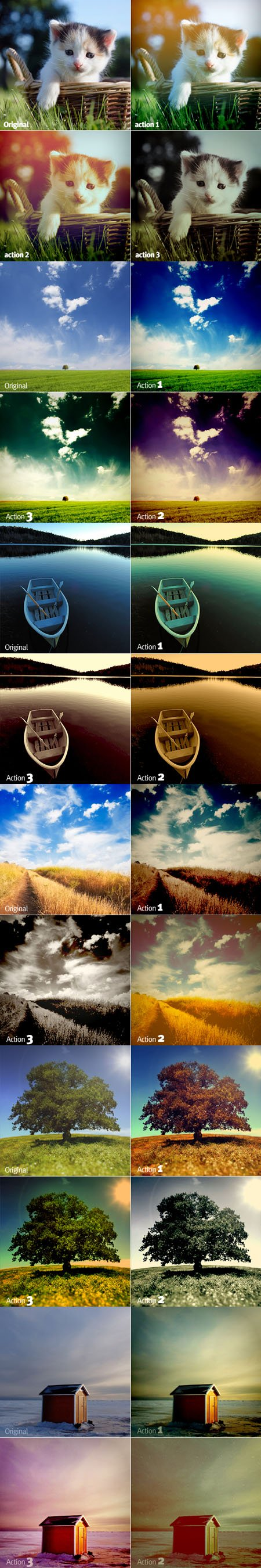 Color, Sky and Darker Effect Actions for Photoshop