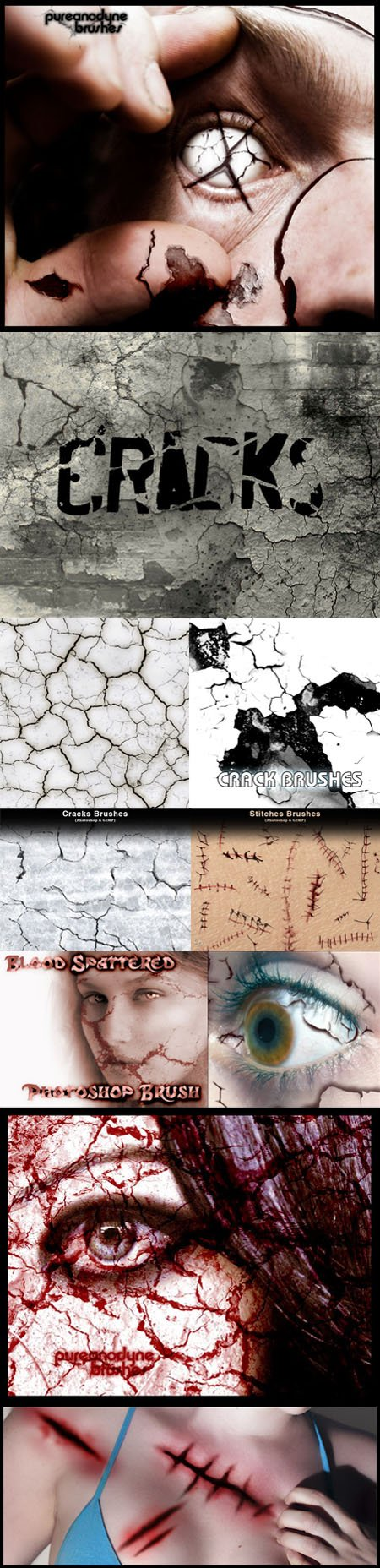 Cracks, Decay, Stitches and Sutures Brushes for Photoshop