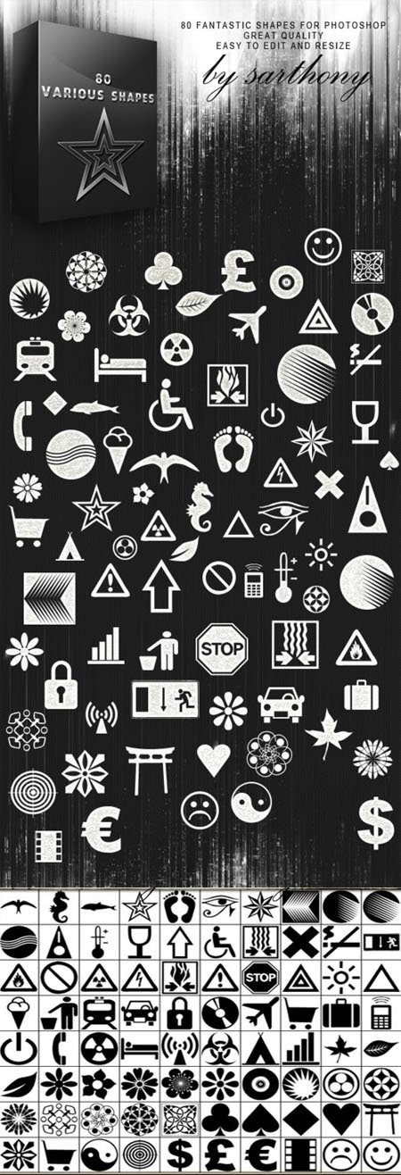 80 Various Photoshop Shapes