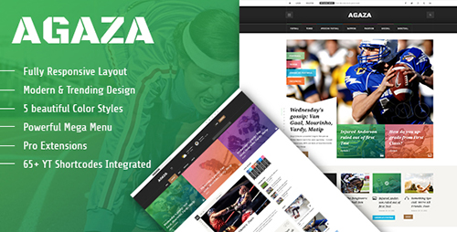 ThemeForest - Agaza v1.0.0 - Responsive Joomla 3.4 Template For News/Magazines - 15449905
