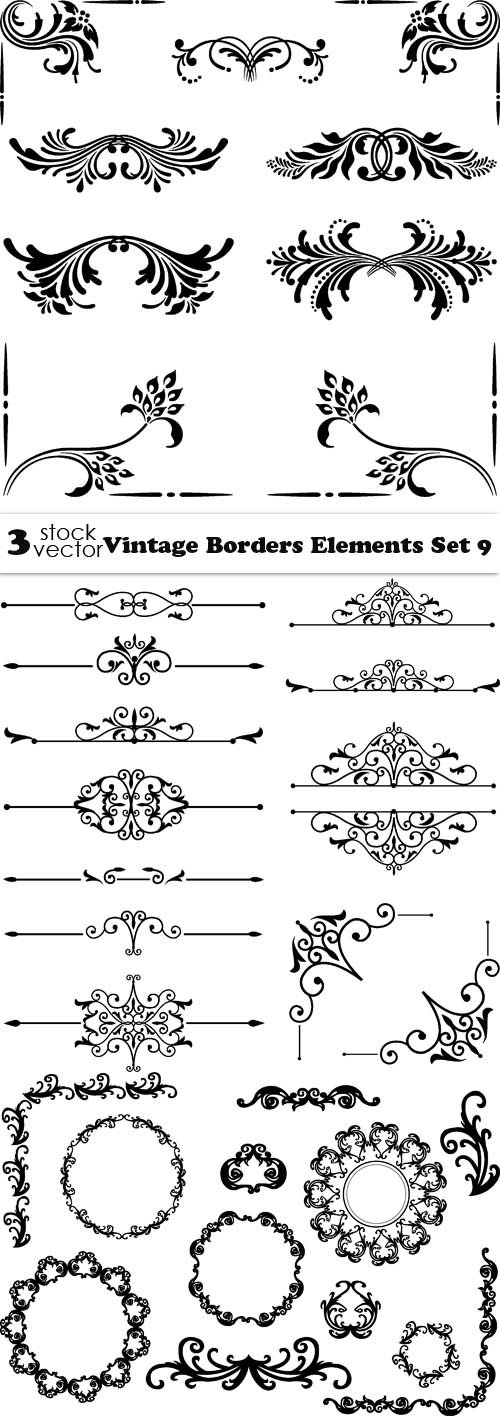 Vectors - Vintage Borders Elements Set 9