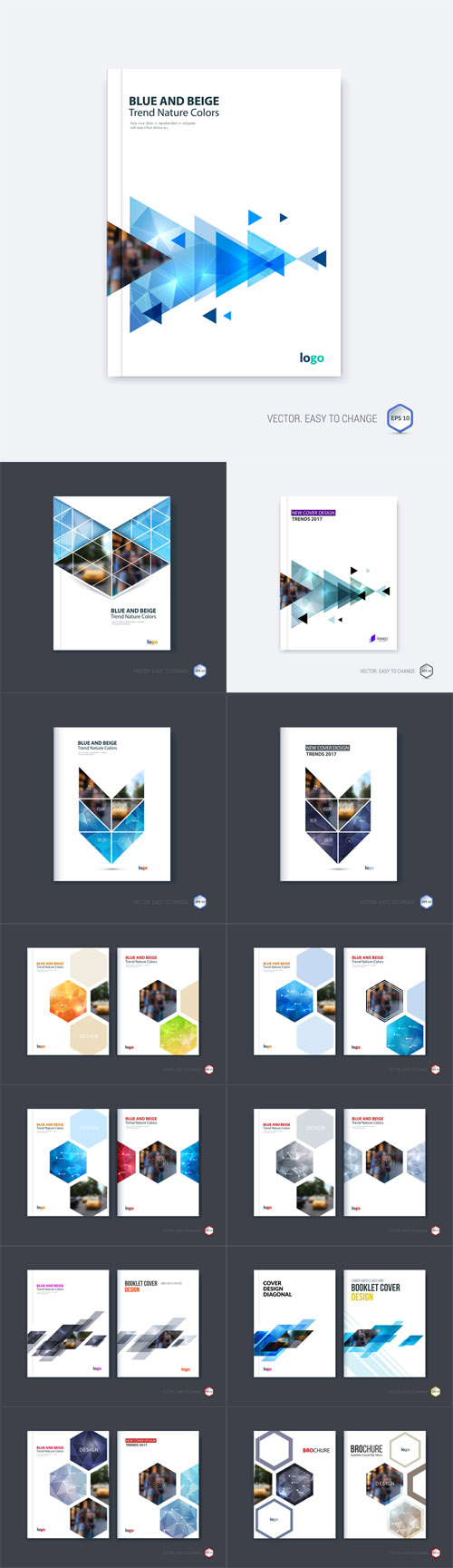 Vector 15 Abstract Cover Design Business Brochure Template Layout Report 2
