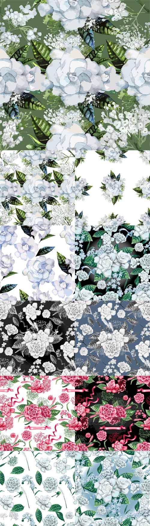 Vector Watercolor Gardenia and Gypsophila Patterns