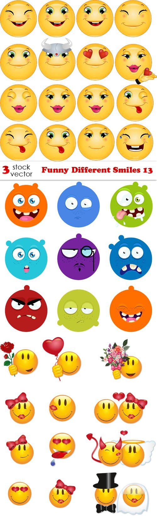 Vectors - Funny Different Smiles 13