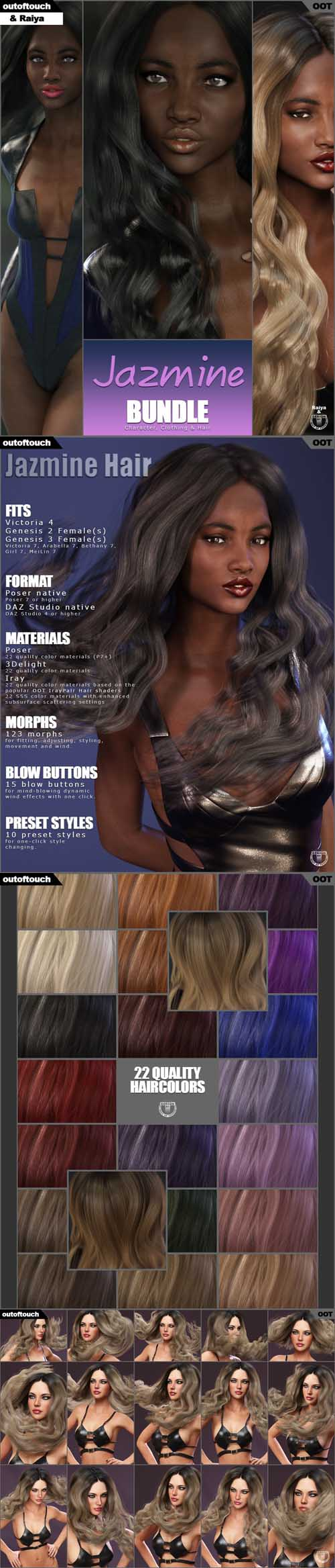 DAZ3D Jazmine Character, Hair & Clothing Bundle