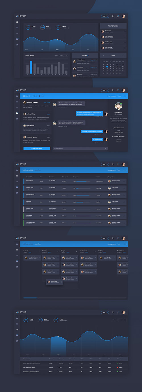 PSD Dashboard Template - Virtus