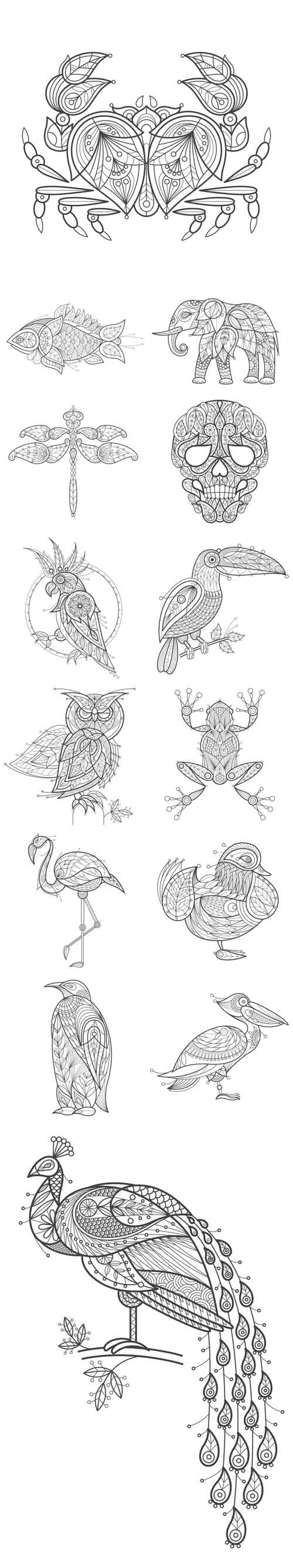 Vector Adult Coloring Animals