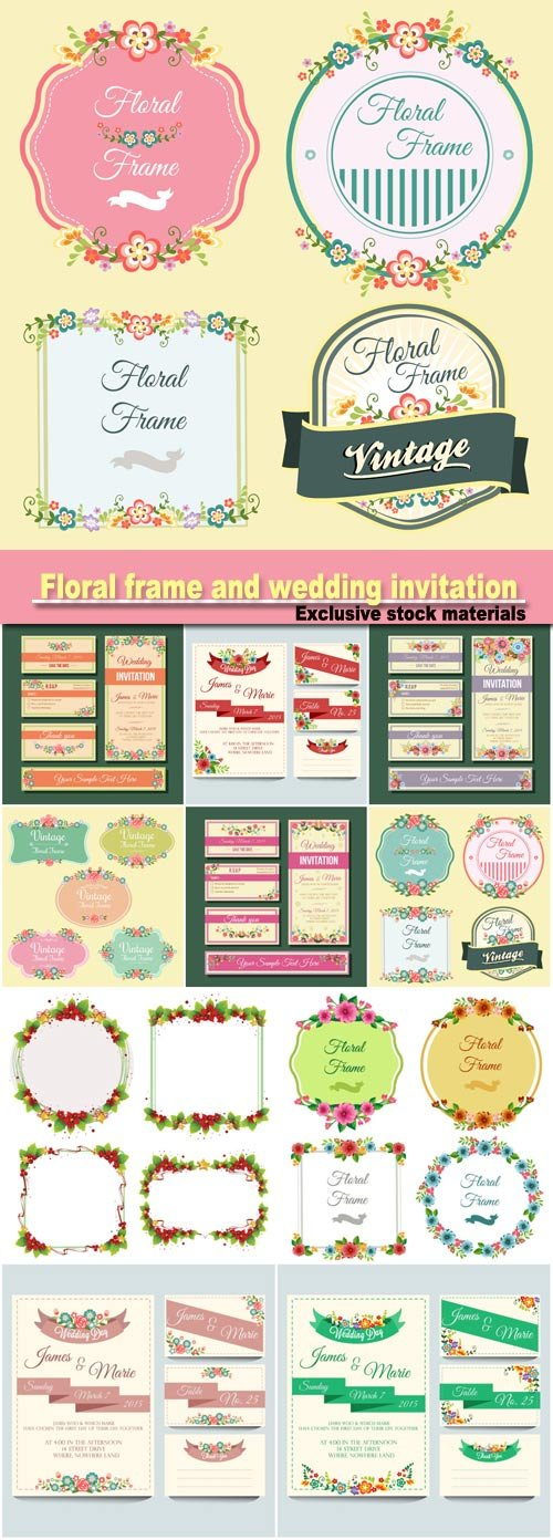 Floral frame and wedding invitation