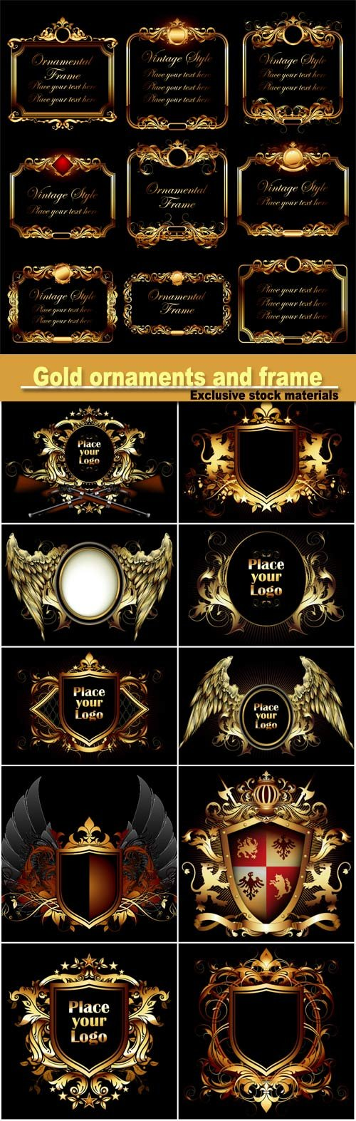 Gold ornaments and frame vector