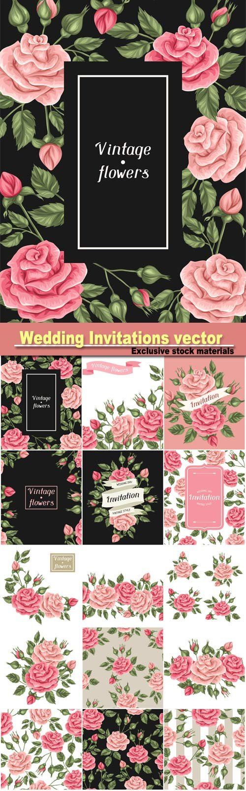Wedding Invitations, vector background with roses