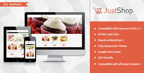 ThemeForest - JustShop v1.0 - Cake Bakery OpenCart 2.x Theme - 14711702