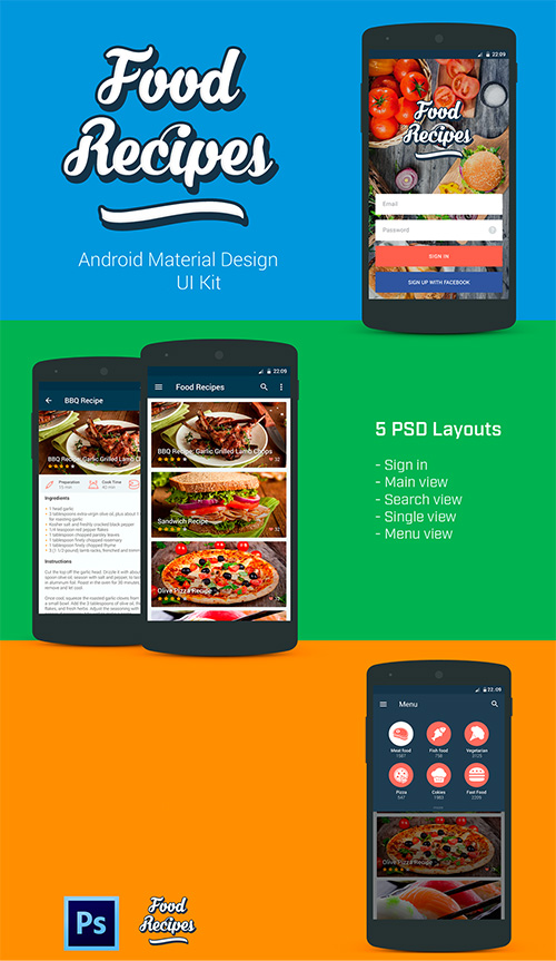 PSD Mobile Web Elements - Food Recipes