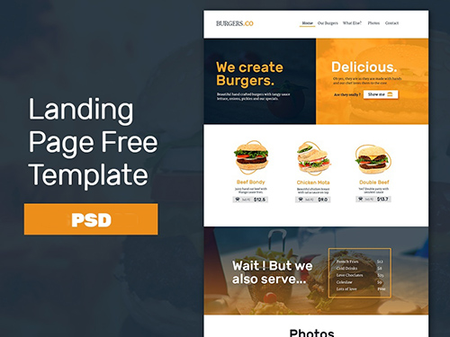 PSD Web Template - Fast Food Landing Page Theme 2016