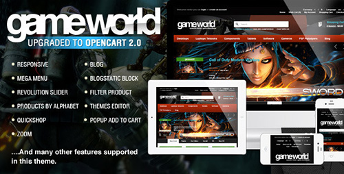 ThemeForest - OpenCart Game Theme - GameWorld v1.1 - 7700485