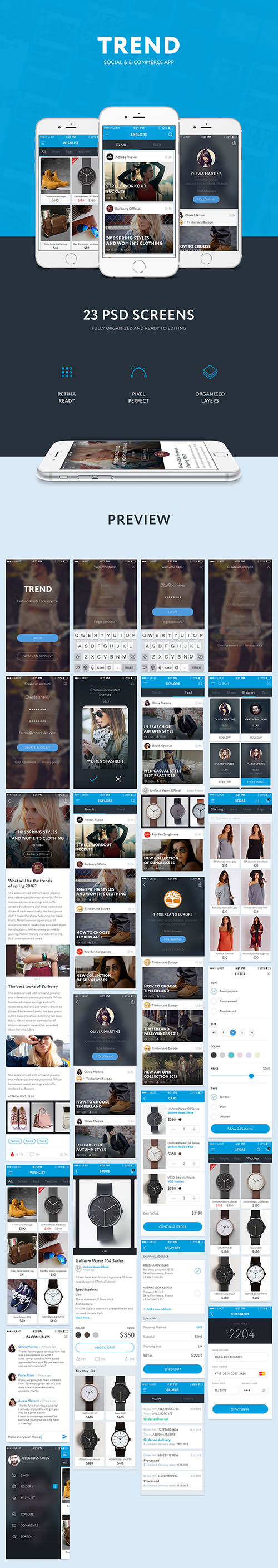 PSD Web Design - TREND - Social And Ecommetce App Ui Kit