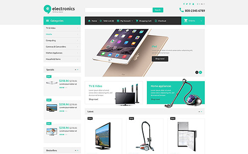 Electronic Store - OpenCart 2.0.1.0 Template - TM 52995