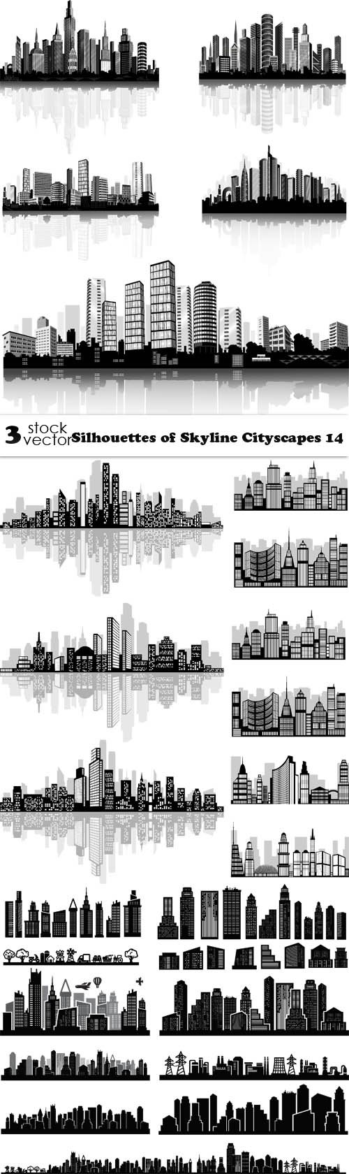 Vectors - Silhouettes of Skyline Cityscapes 14