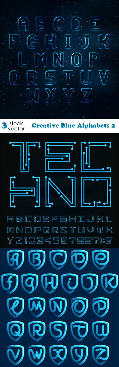 Vectors - Creative Blue Alphabets 2