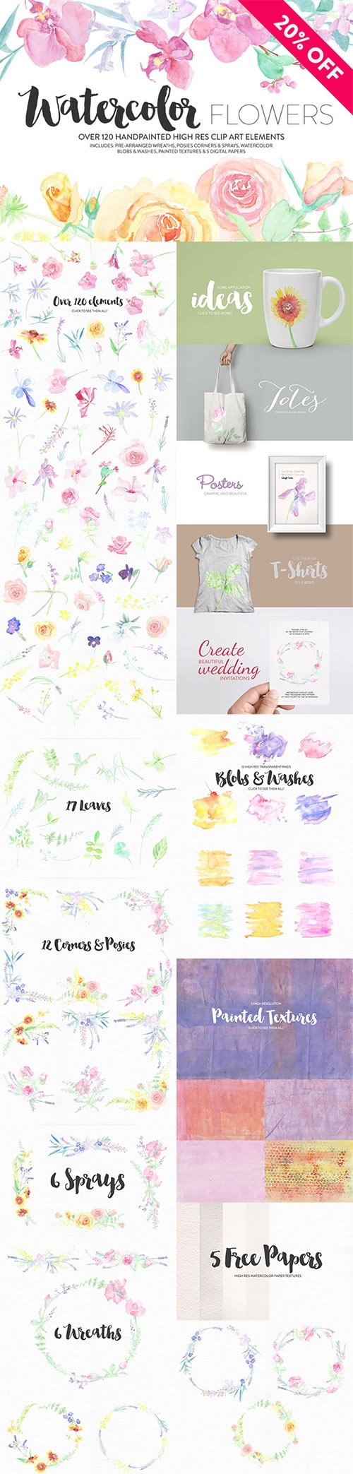 Watercolor Flower Pack - Creativemarket 381960