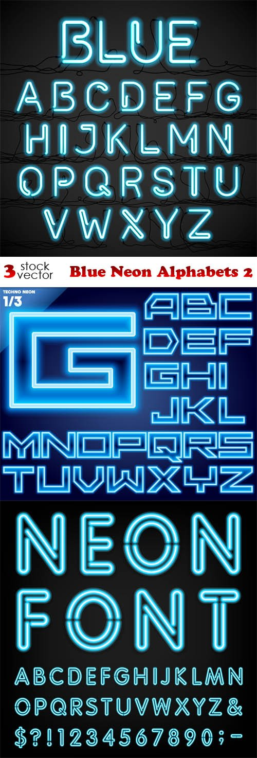 Vectors - Blue Neon Alphabets 2