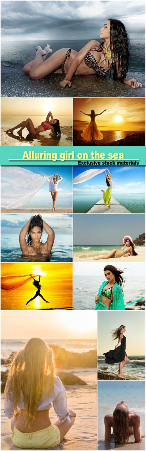 Alluring girl on the sea, summer, vacation