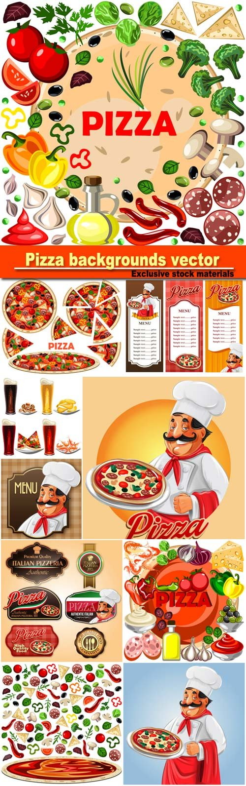 Pizza, labels and backgrounds vector