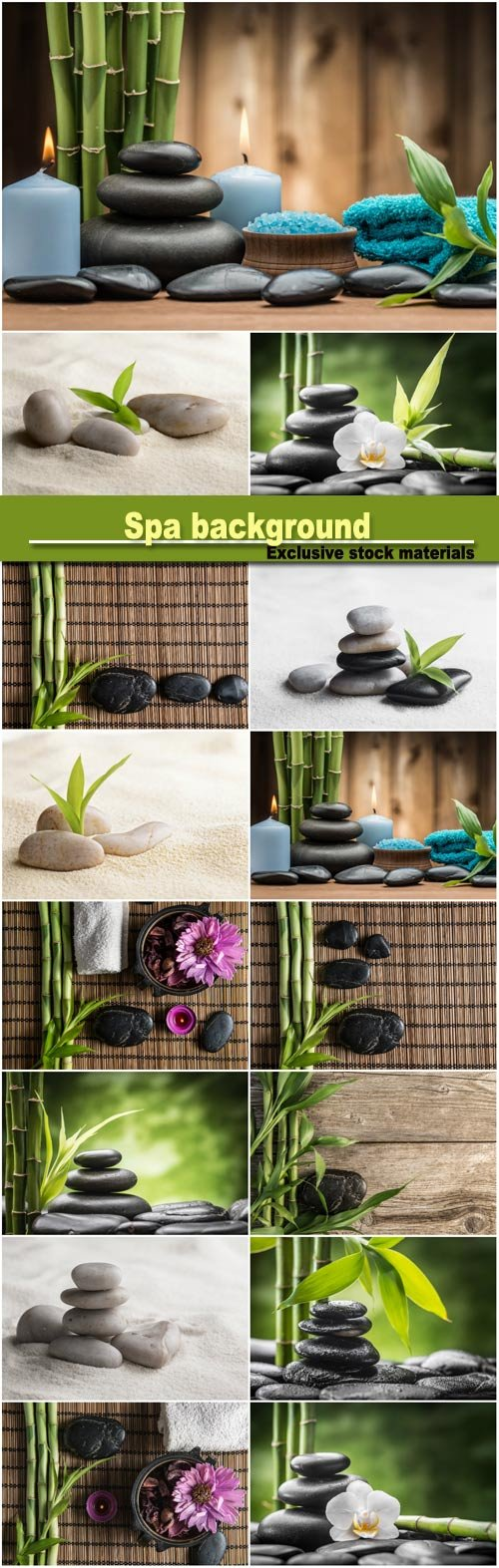 Spa background with bamboo, spa stones and orchids