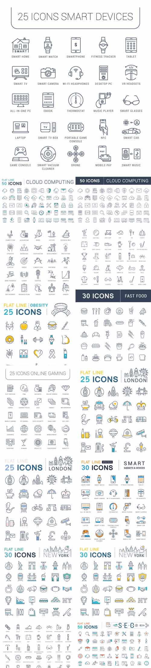 Vector Different Flat Line Icons Vol 2