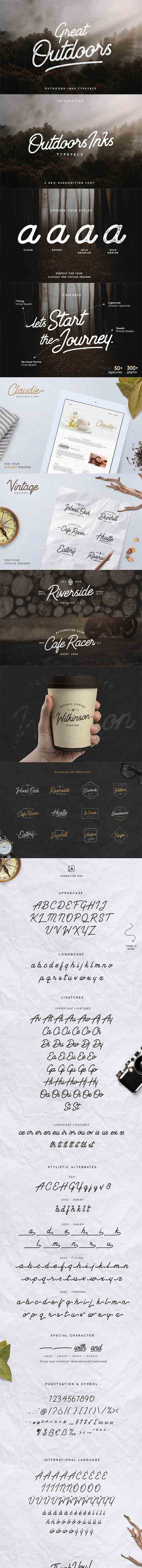 Outdoors Inks Typeface - 4 Styles 730102