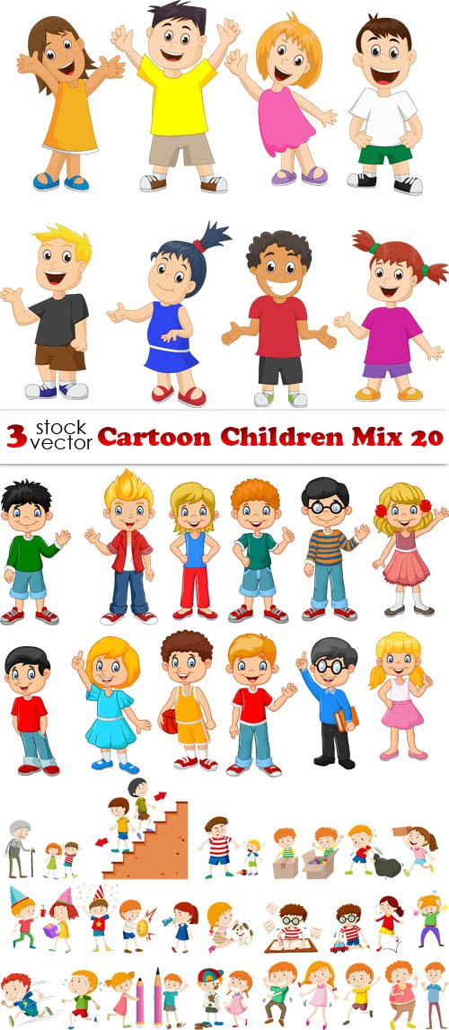Vectors - Cartoon Children Mix 20