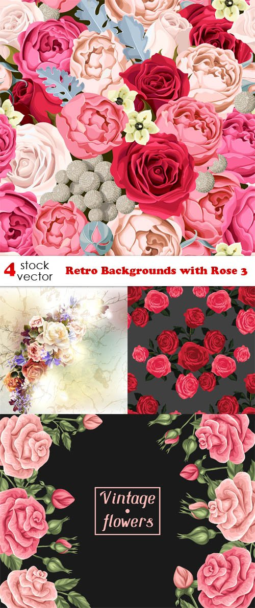 Vectors - Retro Backgrounds with Rose 3