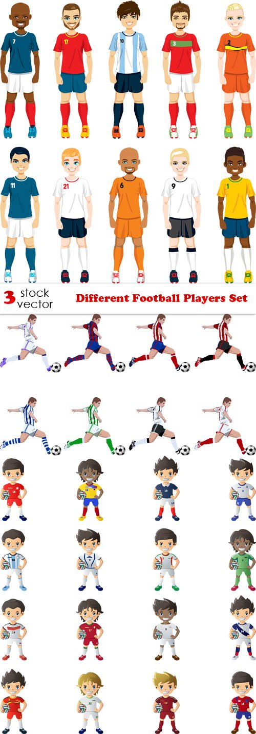 Vectors - Different Football Players Set