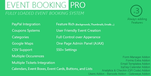 CodeCanyon - Event Booking Pro v3.615 - WP Plugin [paypal or offline] - 5543552