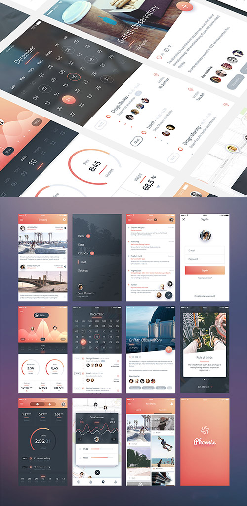 PSD & SKETCH Web Design - Phoenix Ui Elements For iPhone 6