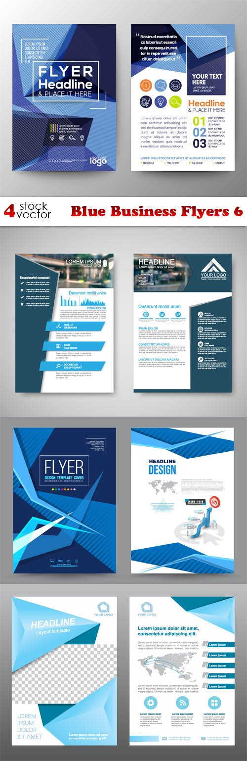 Vectors - Blue Business Flyers 6