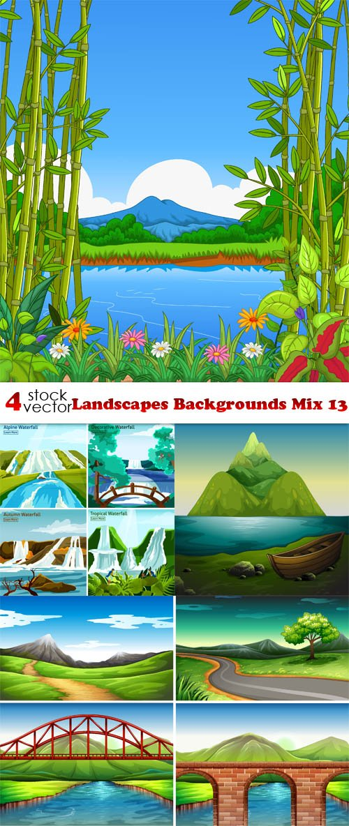 Vectors - Landscapes Backgrounds Mix 13