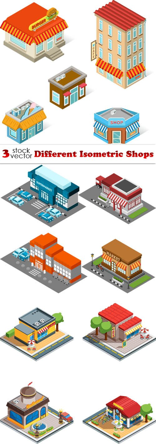 Vectors - Different Isometric Shops