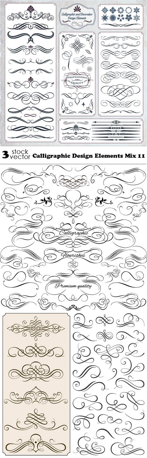 Vectors - Calligraphic Design Elements Mix 11