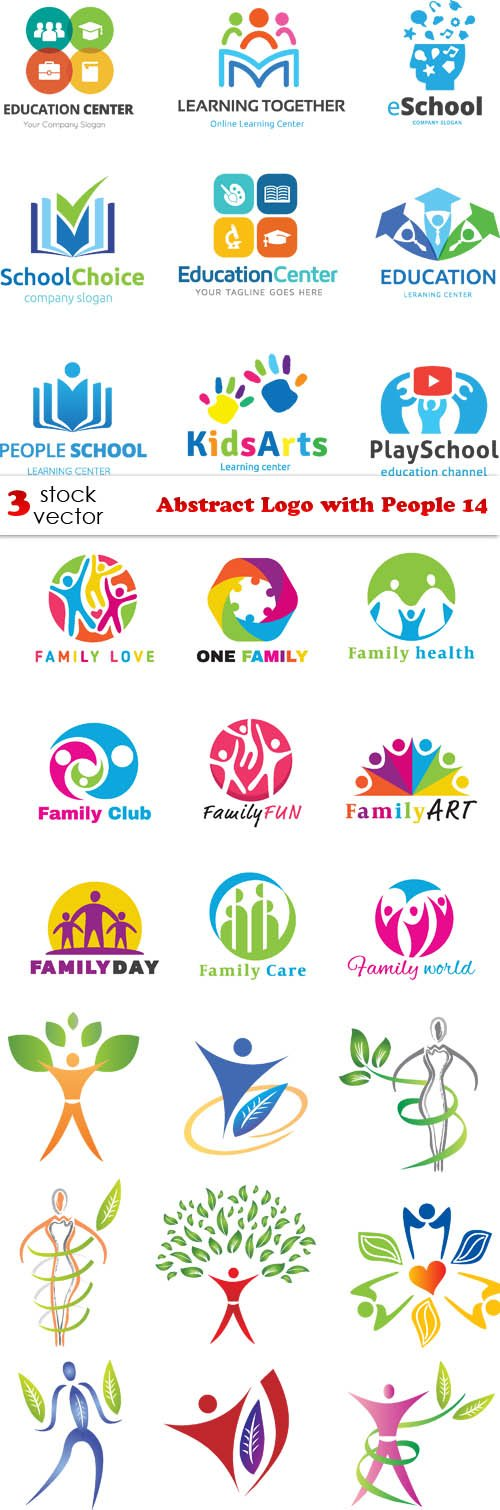 Vectors - Abstract Logo with People 14