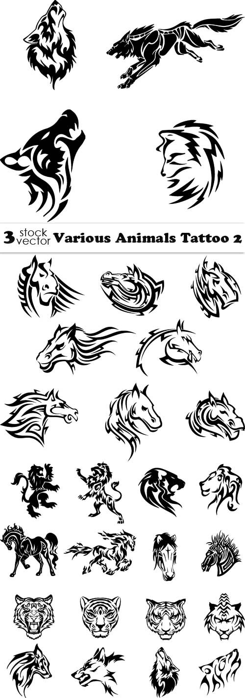 Vectors - Various Animals Tattoo 2