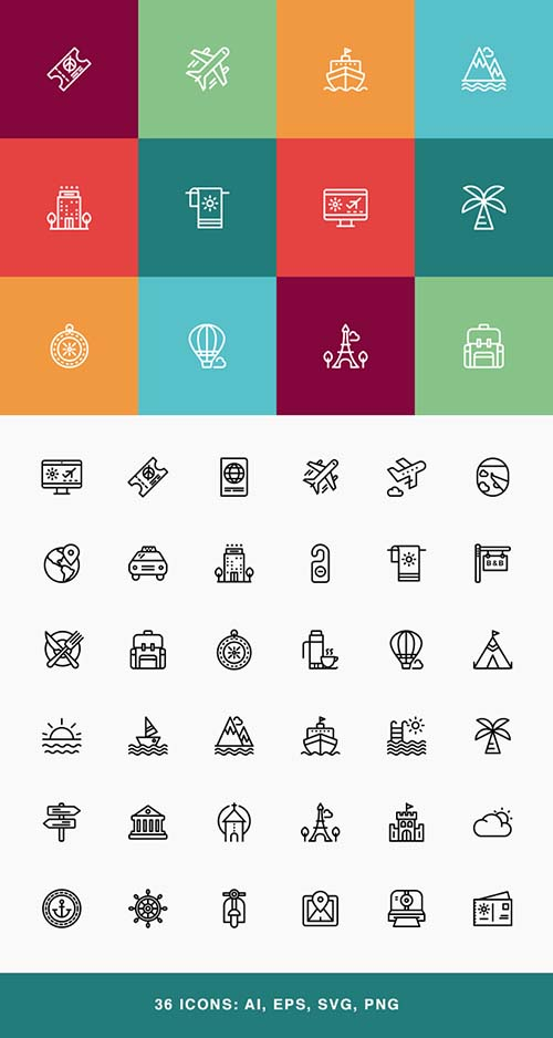 AI, EPS, PNG, SVG Vector Icons - Travel & Tourist Stroke Icon Set
