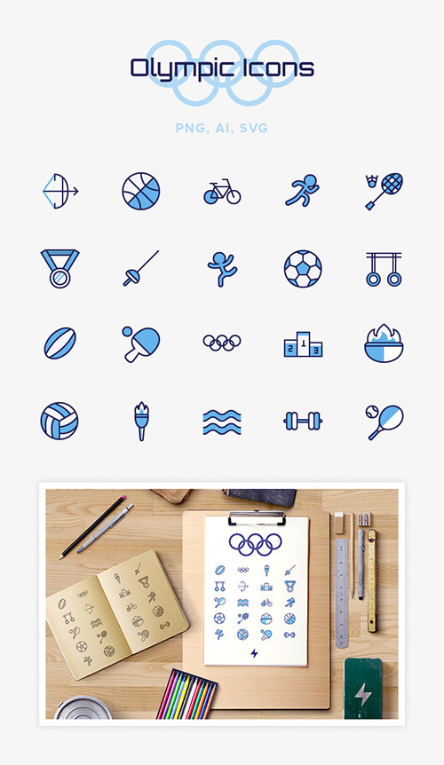 Ai, PNG, SVG Vector Icons - Olympic Sport Icons 2016